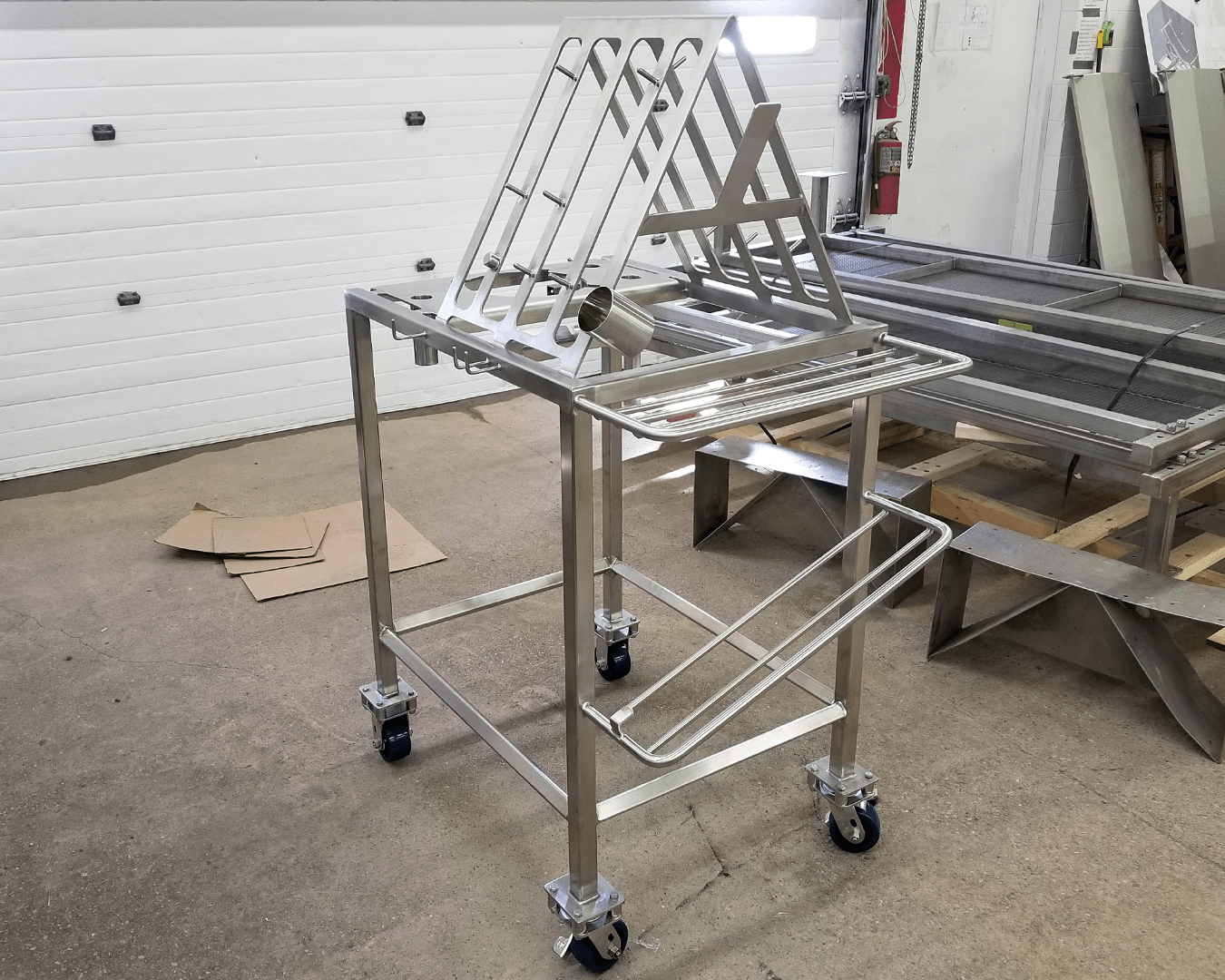 polished stainless steel cart